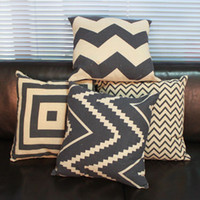 Wholesale Square Linen Bolster Cover without Pillow Inner Fashion Home Textile Lines Pattern Pillow Case JH020229