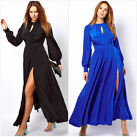 Wholesale 2014 Large Big Plus Size Fat Women Clothing Frilled Maxi Dress With Bell Sleeves T6209P Ladies Winter XXL Maxi Long Sleeve Split Long Dress