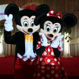 Wholesale Worldwide Adult Mickey Mouse And Minnie Mascot Costumes Halloween Outfit Fancy Dress Suit High Quality