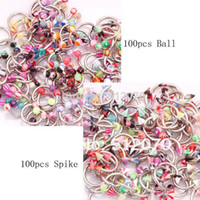 spike ball - min order is mix order Mixed Colours Horseshoe Circular Spike amp Ball Eyebrow Rings Barbell Body Piercing Jewelry
