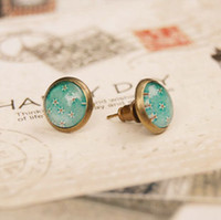 Wholesale Vintage Flower Stud Earrings Floral Printed Earrings for Girls Women mm rd029