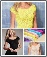 Casual Women 100% Linen Sexy Floral Full Lace Short Sleeve Tee Shirt Stretch Scoopneck Top cute D
