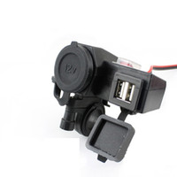 Wholesale New Motorcycle V power outlet USB Adapter Cigarette Lighter Dual Port Integration Outlet Socket v A usb car power charge socket