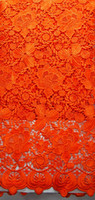 Wholesale African french lace fabric Guipure chemical lace fabric High quality ladies dress fabric in DARK GREEN ORANGE RED BLUE WHITE