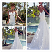 Trumpet/Mermaid Reference Images Sweetheart Sweetheart Lace Mermaid 2015 Galia Lahav Wedding Dresses Applique Backless Sleeveless Court Train Bridal Gowns