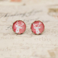 Stud antique pink earrings - Pink Tone White Deer Stud Earrings Antique Earrings for Girl mm rd038