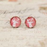 Women's antique stud earrings - Pink Tone White Deer Stud Earrings Antique Earrings for Girl mm rd038