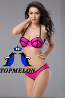 Women bandeau bikini neon - 2014 Sexy Woman Neon swimwear Bikini Set Neoprene Lady Swimsuit Bandeau S M L