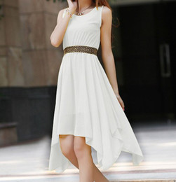 Wholesale Stylish Women s Scoop Neck Solid Color Studded Sleeveless Chiffon Dress Outlet Sale