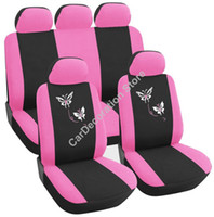 Wholesale New Polyester Car Vehicle Pink Butterfly Embroidery Design Girly Front Rear Car Seat Covers Set Protector For Universal