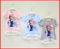 Girl frozen tshirt - Hot Sell Summer Girls Frozen Short Sleeve Splice Lace Tshirt Kids Clothing Back Bow Gauze Tops Snow Queen Elas Anna Children Tee Shirt