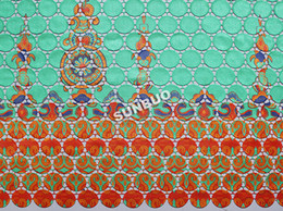 Wholesale High Grade Latest Multicolored Cotton Cord French Lace Guipure Lace African Water Soluble Lace Fabric Aqua orange