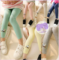 Wholesale spring autumn girls Embroidered birds leggings korean new fashion pants character full length
