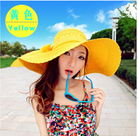 Newsboy Hat flower paper straws - Korean Style summer new ladies straw hats Flower straw sun hats bow Multi color selection collapsible BOTTOMS topee colors