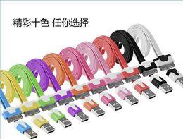 Cargos cables iphone en Línea-Para teléfonos móviles Cable 1M los 3FT micro V8 USB Cable plano sincronización Fideos Data Sync cable de carga para el teléfono celular móvil