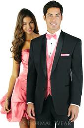 New Style Custom Made Two Button Groom Tuxedos Black Best man Shawl Collar Groomsman Men Wedding Suits Bridegroom(Jacket+Pants+Tie+Vest)J569
