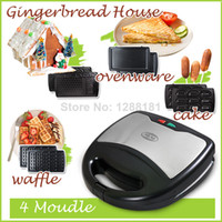 Wholesale 4 in waffle Gingerbread House cake Panini Maker machine muffin pancake crepe maker scone machine electric baking pan