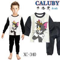 Regular Men Robe Boys Cat And Mouse Clothing Set Kids Autumn -Summer Pajamas Sets New 2013 Wholesale Cotton Cartoon Sleepwear XC-340