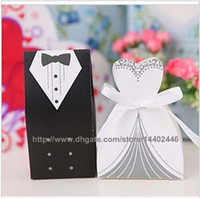 Favor Boxes Gray Paper New Arrival Wedding Favor Box 4000pairs=8000pcs lot Bride and Groom Gift Candy Box with White Ribbon Candy Boxes Free Shipping