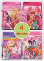 Backpack Style Unisex Plain Children Cartoon Winx Club Drawstring Backpack Bag, 4 Designs Can Choose, Best Birthday Party Gift For Kids, 35X27cm, 4pcs lot