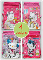 Cheap Kids Cartoon New Hello Kitty Drawstring Backpack Bag, 4 Designs Can Choose, Best Birthday Party Gift For Kids, 35X27cm, 4pcs lot