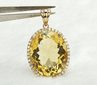 Chains Engagement Pendants Solid 14k Yellow Gold NATURAL Diamond & 16.98ct AWESOME Citrine Pendant Jewelry