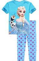 Wholesale New Fashion Children s Frozen Elsa amp Anna Pajamas Set girls boys clothing sets printing Princess sleepwear kids pyjamas clothes set