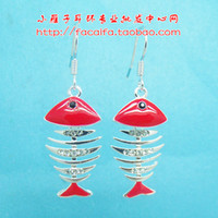 Stud genuine diamond earrings - free shinppingYan Zi cute little fish genuine diamond earrings Fishbone Europe America Japan and Korea hypoallergenic jewelry e