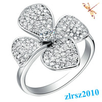 Cluster Rings South American Women's Leaf Clover The Flower Of Love Wedding Infinity Rings 2014 New 925 Sterling Silver Jewelry Rings for Women Crystal CZ Diamonds Fashion Ring
