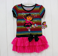 Wholesale Children Clothing girl girls Dora the Explorer summer stripe tutu dresses dress