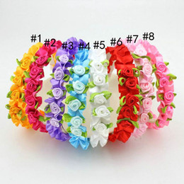 Discount stick accessories Wholesale Baby Girl Satin Rose Flower Hair hoop Hair Accessories 8 Colors 00001
