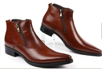 Wholesale WOUFO new British male han edition pointed male help dress zipper short boots boots business leather shoes