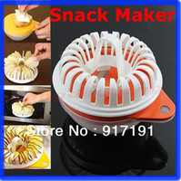 Shredders & Slicers Plastic ECO Friendly Free Shipping 2013 Hot Sell Microwave Apple Fruit Potato Crisp Chip Slicer Snack Maker DIY Complete Set Tray