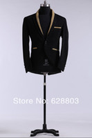 Men Dress Suit Polyester Lapel Buttons Black Flannel TuxedosGroom Wear Coat and Pant As the picture