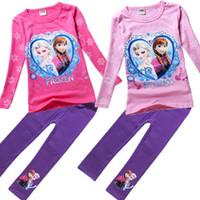 Frozen Elsa and Anna long sleeve T- shirt + leggings girls cl...