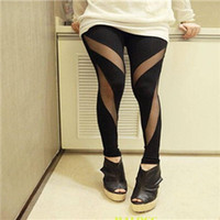 Leggings Skinny,Slim Women 2014 Hot Sale Sexy Stretch Stitching Of Mesh Leggings For Women, Personality Retro Spring-Autumn Leggings Women's Clothing