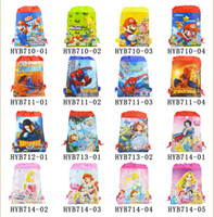 Wholesale My Little Pony Spider Man Super Mario Sofia etc kids Cartoon Drawstring Backpack Bag school bags Non woven CM