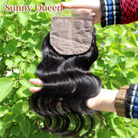 "Brazilian Hair Natural Color Body Wave Free shipping silk base closure brazilian hair,4X4""body wave bleached knots lace top closure middle or free part natural color"