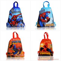 cartoon bags - kids party gifts Spider man kids Cartoon Drawstring Backpack Bag school bags kids handbags cartoon logo bags Non woven34 CM