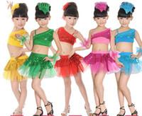 al por mayor muchachas de la ropa ropa de danza del niño-Los niños bailan los trajes de ropa para niñas falda de lentejuelas sesenta y un niños de las faldas de baile latino y vestido de la danza moderna