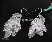Wholesale Brand new Silver multi Leafs earrings ladies jewelry Fashion Hot sale