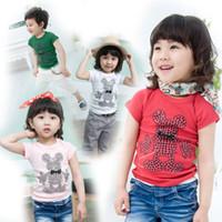 Cheap explosion models T-shirt kids 100% cotton weatshirts Korean cute bear bodysuit 4 colors' tees top quality wholesale 5ps lot LT15