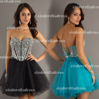 Wholesale 2014 Little Black Dresses Sweetheart Ball Gown Short Cocktail Dress Lace Up Hunter Jade Sexy Bling Homecoming Gowns Graduation Gown PG0006