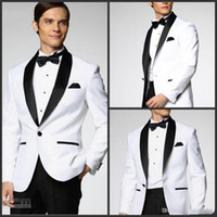Men Pant Suit Formal 2014 White Jacket With Black Satin Lapel Groom Tuxedos Groomsmen Best Man Suit Mens Wedding Suits Jacket+Pants+Bow Tie+Girdle
