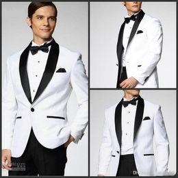 Wholesale 2014 White Jacket With Black Satin Lapel Groom Tuxedos Groomsmen Best Man Suit Mens Wedding Suits Jacket Pants Bow Tie Girdle