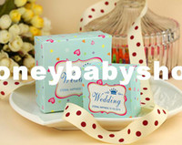 Wholesale square candy paper box Wedding Party chocolate box wedding favor box sweet promise of Hearts Crown blue box size wedding candy box