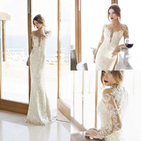2015 sheer Long Sleeve Evening dresses Ivory Vintage V Neck ...