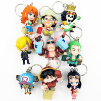 Unisex age Movie & TV new 2014 hot sale one piece keychain 1set 9pcs 5-6cm pvc action figure keychain accessories toys pirate decoration Free shipping