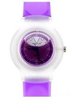 Women's Round 22 Round Shaped Watch Dial Plastic Cement Watchband Women's and Kid's Liquid-filled Wrist Watch (Purple),free shipping