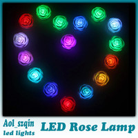 Wholesale led rose lamp rose light rose bulb colors changing automatically with white body lamp battery box DHL